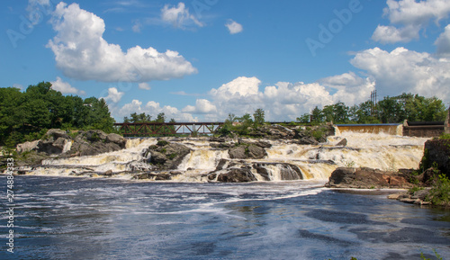 Lewiston Falls with a railroad bridge Canvas Print