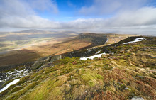 Views Of The Summit Of Whernside From The Top Of Ingleborough, Two Of The Three Peaks In The Yorkshire Dales.