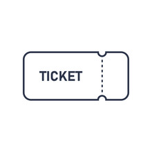 Ticket Icon Flat Outline Vector Illustration