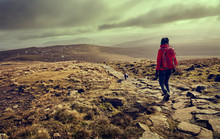 A Hiker Descending The Summit Of Ingleborough Towards Simon Fell In The Yorkshire Dales, England.