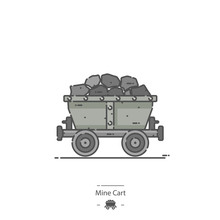 Mine Cart - Line Color Icon