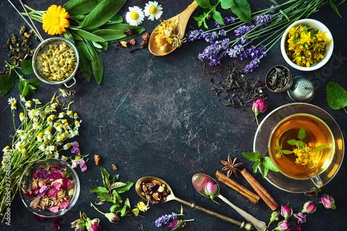 Fototapeta Cup of healthy herbal tea obraz