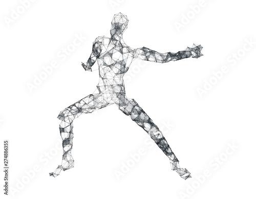 Fototapeta Future human technology, human body wireframe graphics, network data