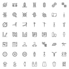Sewing Line Icons Set. Linear Style Symbols Collection, Outline Signs Pack. Vector Graphics. Set Includes Icons As Thimble, Electric Sewing Machine, Pattern Fabric, Tailors Dummy, Clothing Scissors