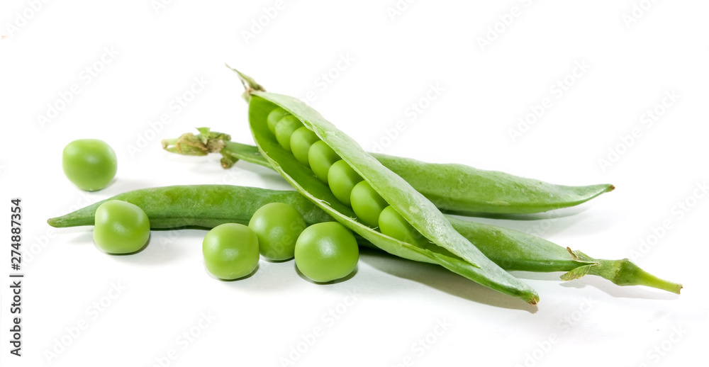 Fototapety, obrazy: isolated image of peas in pods on a white background close-up