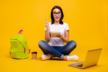 Full Length Body Size Photo Beautiful She Her Sit Floor Notebook Hands Organizer Make Notes College Website Excited Geek Thought Wear Casual White T-shirt Jeans Denim Isolated Bright Yellow Background