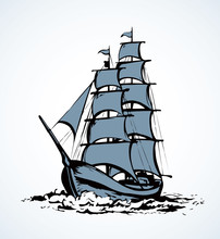 Sailing Vessel. Vector Drawing