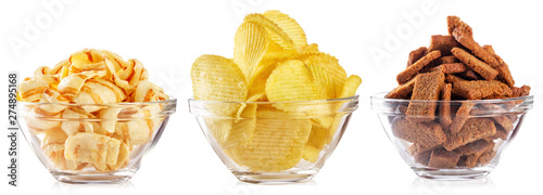 Collection of snacks for beer isolated on white background Tablou Canvas