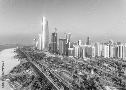 Poster Abou Dabi Abu Dhabi Downtown view from helicopter