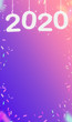 canvas print picture - 2020 Happy new year and confetti hanging at pink gradient purple studio room,Hoilday greeting card,Vertical Mock up for display or montage of product ( 3d rendering)