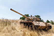 Destroyed  Israeli Tank Is After The Doomsday (Yom Kippur War) On The Golan Heights In Israel, Near The Border With Syria