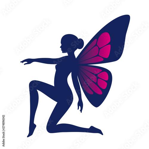Fototapeta Vector blue silhouette cute kneeling fairy woman with butterfly wings