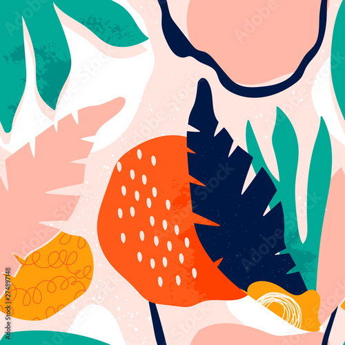 Hand drawn tropical jungle leaves and various shapes. Abstract contemporary seamless pattern. Modern patchwork illustration in vector Wall mural