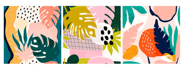 Set of three hand drawn seamless patterns. Tropical jungle leaves and various shapes. Abstract contemporary seamless patterns. Modern patchwork illustrations in vector. Every pattern is isolated