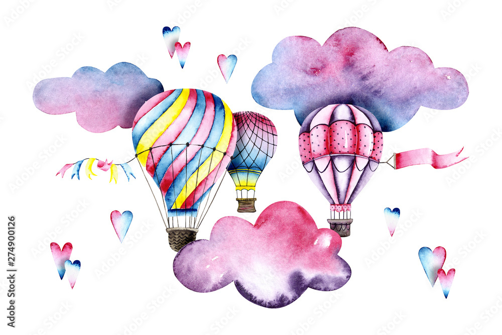 Fototapeta Watercolor colorful air balloons with clouds and hearts. Colorful illustration isolated on white. Hand painted airships perfect for children's wallpaper, fabric textile, interior design, card making