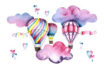 Watercolor colorful air bal...