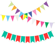 Pennant Banner Garland, Vector Illustration. Hanging Flag Decoration. Bright Color Party Bunting