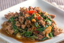 Stir-fried Pork With Basil Thai Racipe.