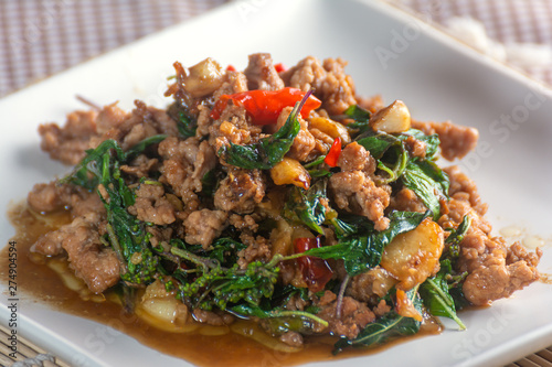 Photo  stir-fried pork with basil Thai Racipe.