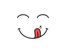 Yummy Smile. Delicious, Tasty Eating Emoji Face Eat With Mouth And Tongue Gourmet Enjoying Taste