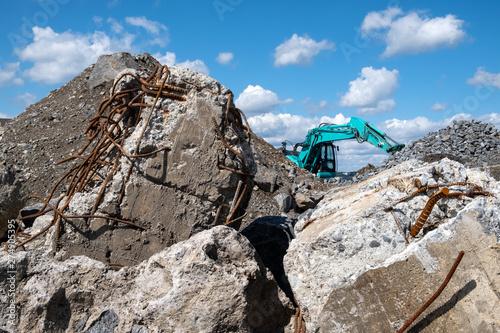 Photo Stands Mountaineering Concrete debris and excavator