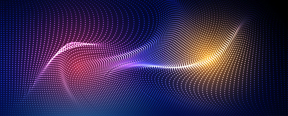 Abstract particle fractal background, hi-tech and big data background illustration