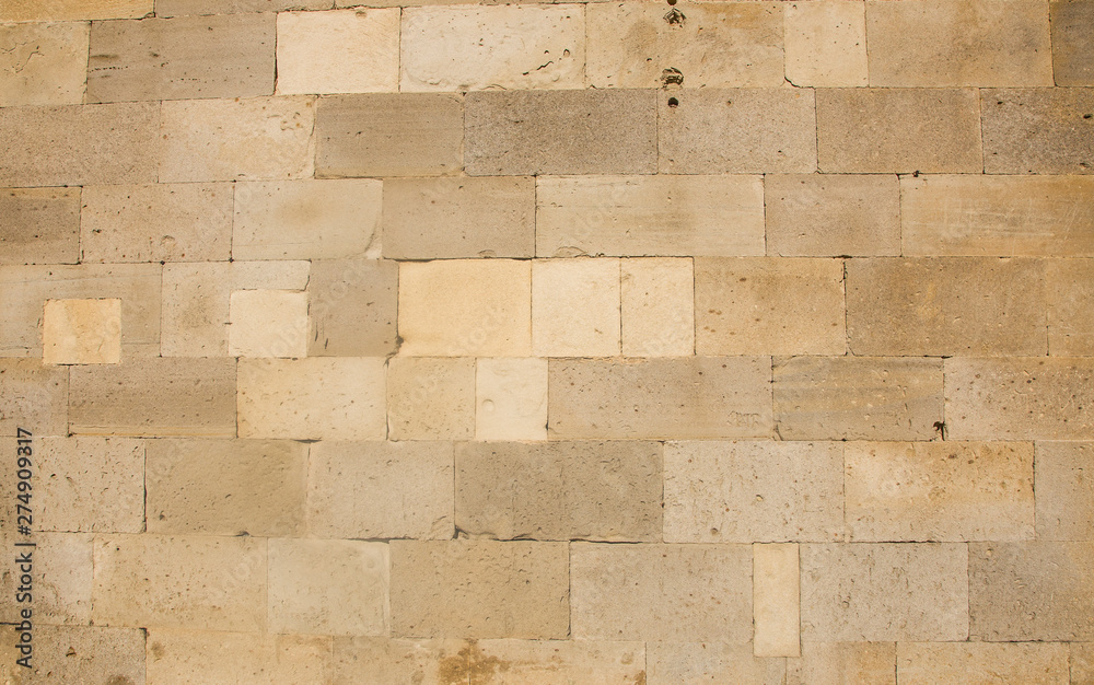 Fototapety, obrazy: Old beige brick wall background texture close up