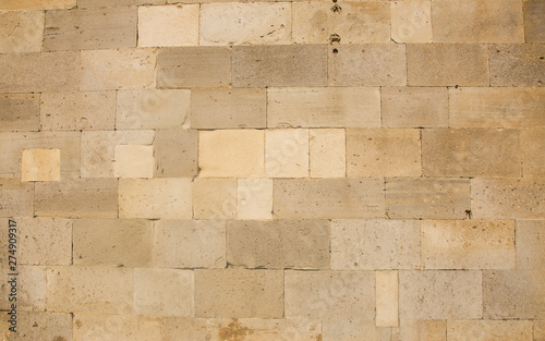Garden Poster Wall Old beige brick wall background texture close up