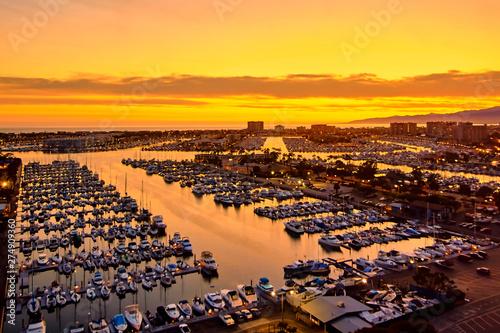 Aerial view of the Marina del Rey seaside community in Los Angeles Wallpaper Mural