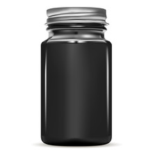 Black Bottle. Glass Fish Cod Medical Jar. Medicine Vial For Pill With Gold Screw Cap. Drug Pharmaceutical Container. Medication Packaging For Antibiotic Tablet. 3d Storage Mockup.
