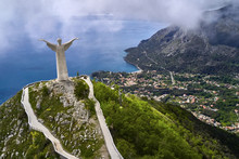 View At Green Hill With Statue In Maratea Town In Italy