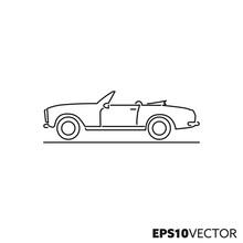 Vintage Sports Car Vector Line Icon