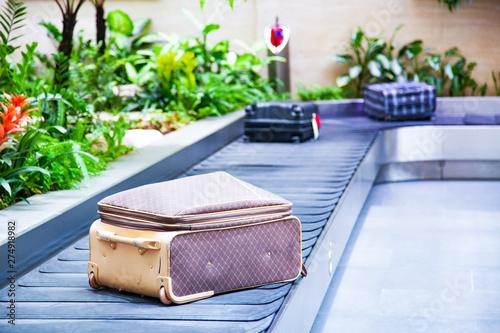 Fotografie, Obraz  suitcase on a conveyor belt surrounded by green tropical plants in a baggage cla