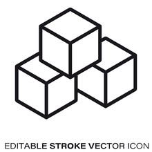 Building Blocks Vector Line Icon