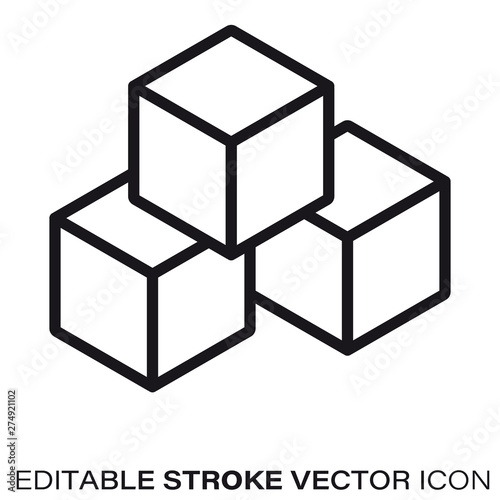 Fotografia Building blocks vector line icon
