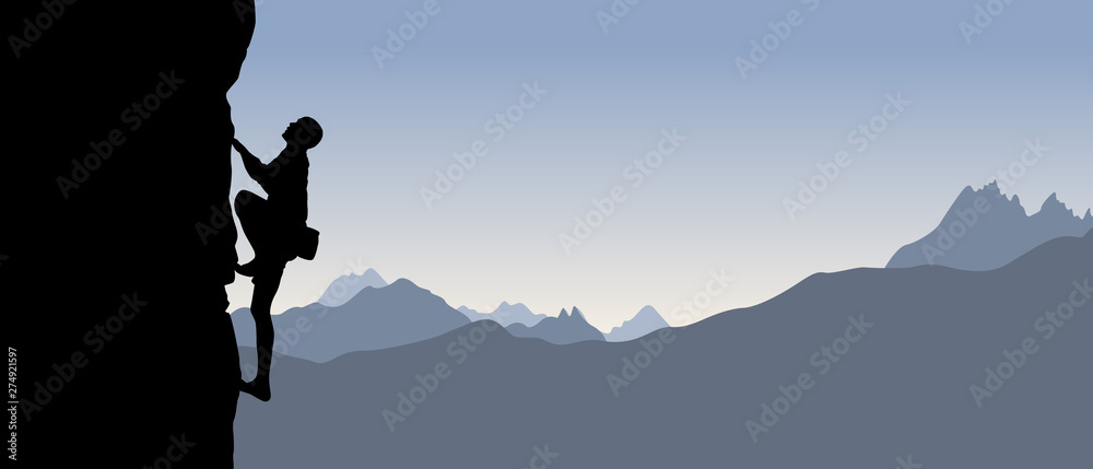 Fototapeta Black silhouette of a climber on a cliff with mountains as a background. Vector illustration