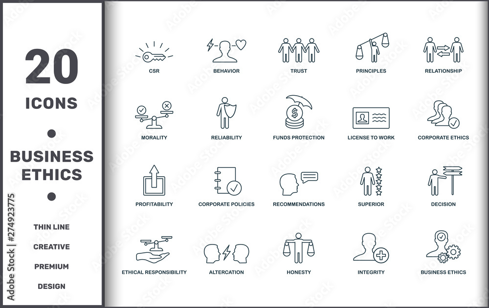 Fototapety, obrazy: Business Ethics icons set collection. Includes creative elements such as Csr, Behavior, Trust, Principles, Relationship, Corporate Policies and Recommendations premium icons