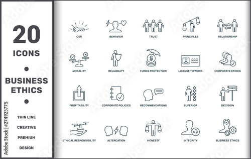 Business Ethics icons set collection. Includes creative elements such as Csr, Behavior, Trust, Principles, Relationship, Corporate Policies and Recommendations premium icons