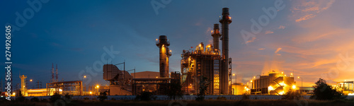 Fototapeta Panoramic images of power plants during the night. obraz
