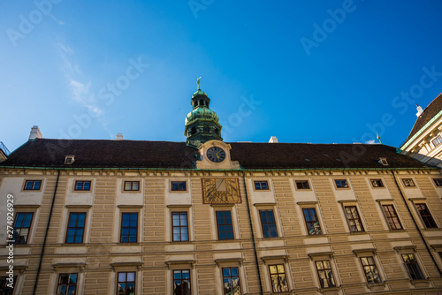 Fotografie, Obraz  Vienna, Austria: Hofburg palace and panoramic square view, people walking and fi