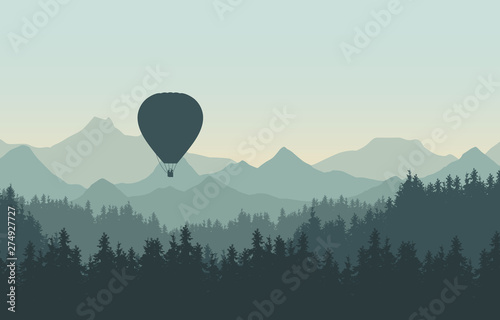 Obraz na plátně  Realistic illustration of landscape with coniferous forest with pine trees under morning green sky