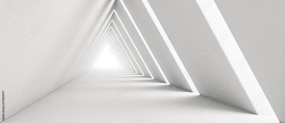 Fototapeta Empty Long Light Corridor. Modern white background. Futuristic Sci-Fi Triangle Tunnel. 3D Rendering