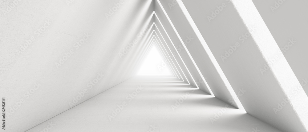 Fototapety, obrazy: Empty Long Light Corridor. Modern white background. Futuristic Sci-Fi Triangle Tunnel. 3D Rendering
