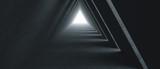 Pusty długi korytarz światła. Nowoczesne tło betonu. Futurystyczny tunel Sci-Fi Triangle. Renderowanie 3D