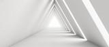 Fototapeta Perspektywa 3d - Empty Long Light Corridor. Modern white background. Futuristic Sci-Fi Triangle Tunnel. 3D Rendering