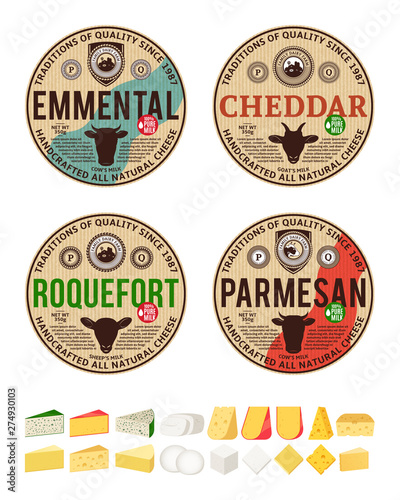 Vector Vintage Cheese Round Labels And Different Types Of Cheese