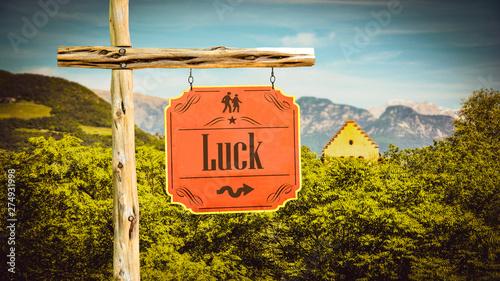 Fotografía  Street Sign to Luck