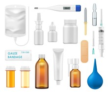 Medicine Bottles, Spray, Glass Vials, Thermometer