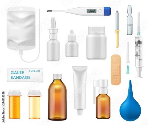 Photo Medicine bottles, spray, glass vials, thermometer