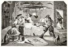 Scene Of The Mock Heroic Poem Hudibras (Hudibras In The House Of Sidrophel Sorcerer). After Hogarth Publ. On Magasin Pittoresque Paris 1848 Hudibras